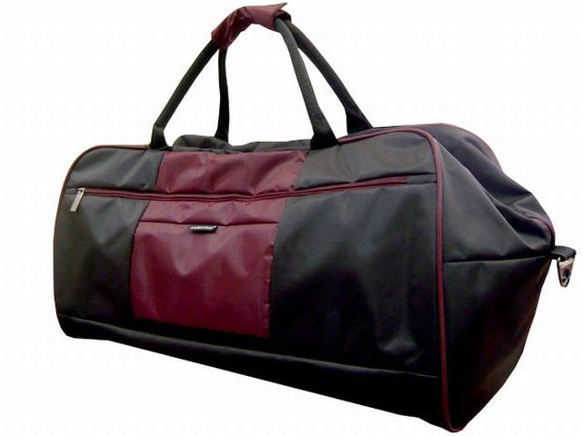 1106к сумка дорожная черная/бордовая