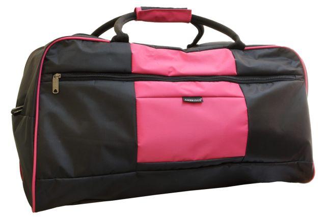 1106к сумка дорожная черная/розовая