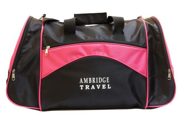 1112к сумка спортивно-дорожная черная/розовая