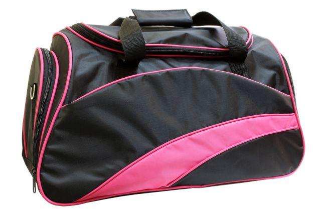 0806к сумка спортивно-дорожная черная/розовая