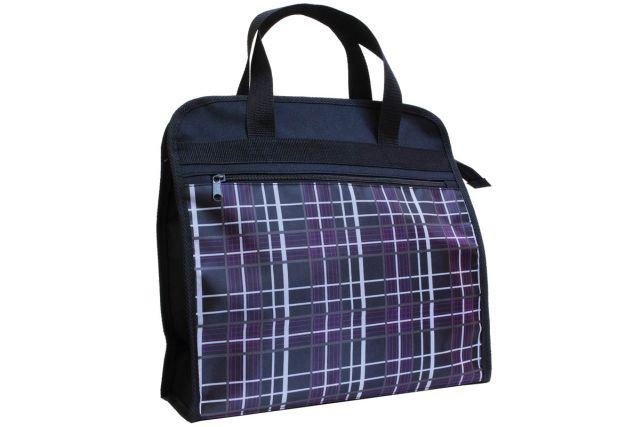 0309к сумка женская черная/клетка сиреневая