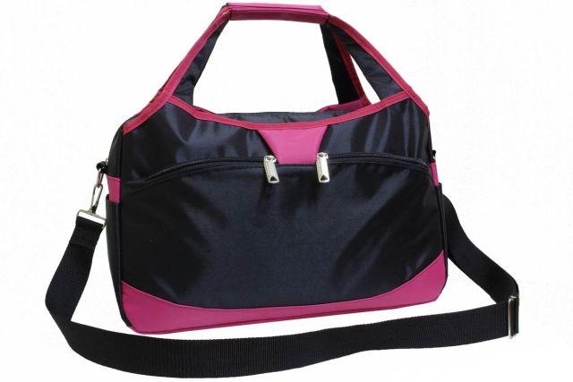 1936к сумка спортивно-дорожная черная/розовая