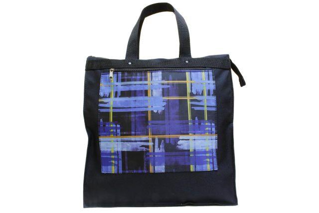 0565к сумка женская черная/клетка синяя
