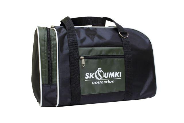 0141к сумка спортивно-дорожная черная/хаки