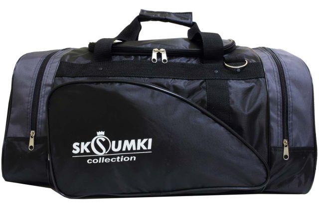 0281к сумка спортивно-дорожная черная/серая