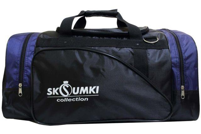 0281к сумка спортивно-дорожная черная/синяя