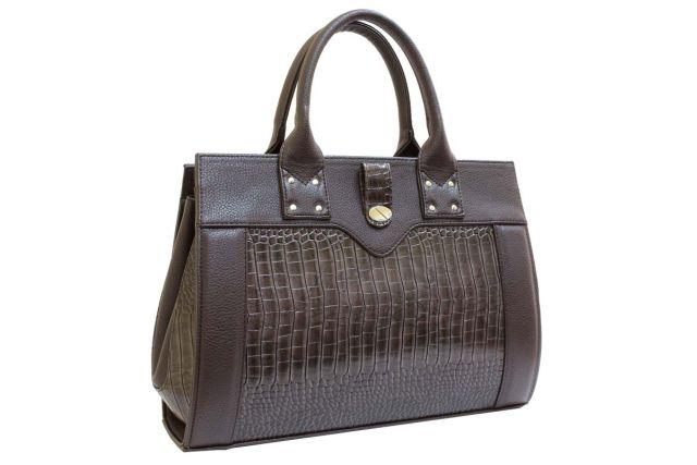 1342 сумка женская коричневая/коричневый крок