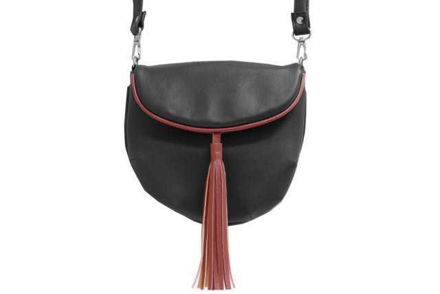1209 сумка женская черная/отделка бордовая