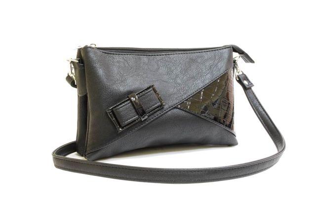 1404 сумка женская черная/черный лак