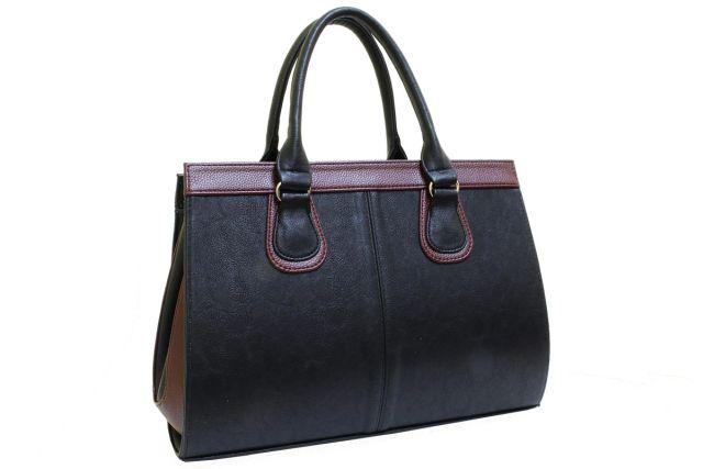 1214 сумка женская черная/бордовая отделка