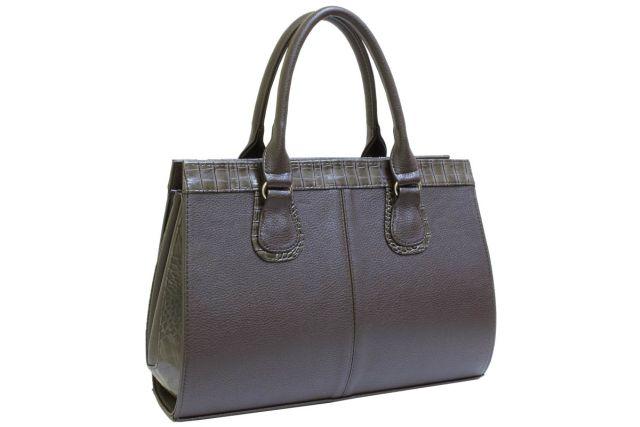 1214 сумка женская коричневая/коричневый крок