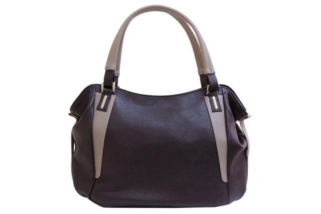 1512 сумка женская коричневая/темно-бежевая