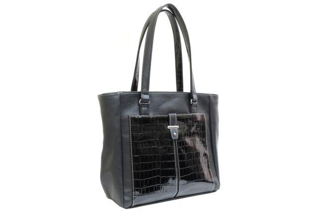 1528 сумка женская черная с отделкой
