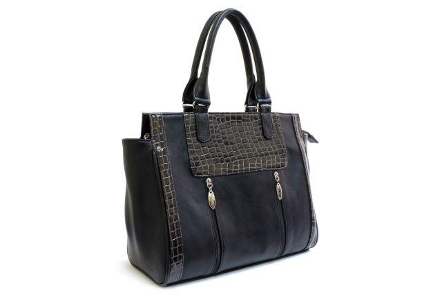 1533 сумка женская черная/черный лак