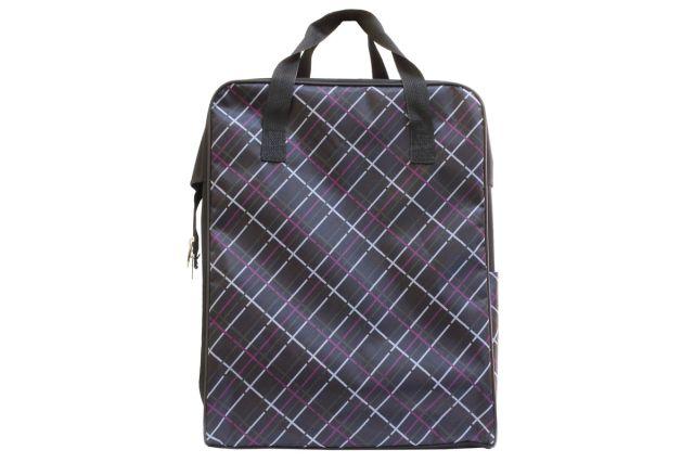 0026к сумка дорожная черная/клетка сиреневая
