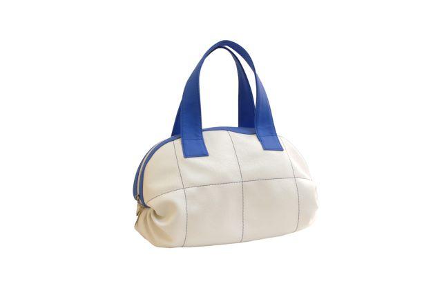 1524 сумка женская белая/синяя отделка