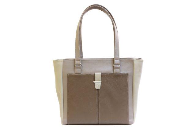 1528 сумка женская бежевая комбинированная