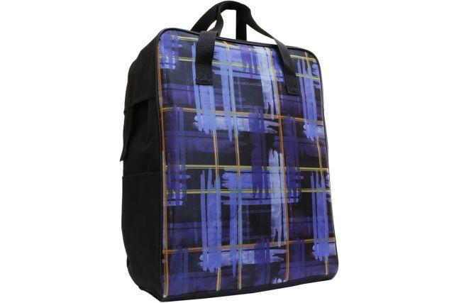 0026к сумка дорожная черная/клетка синяя