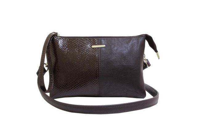 1626 сумка женская коричневая с отделкой