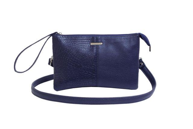 1626 сумка женская синяя с отделкой
