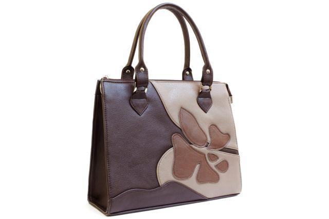 1635 сумка женская коричневая с отделкой