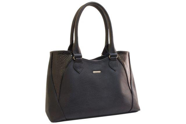 1639 сумка женская черная с отделкой