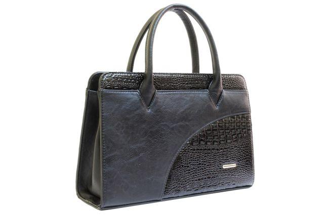 1642 сумка женская черная с отделкой