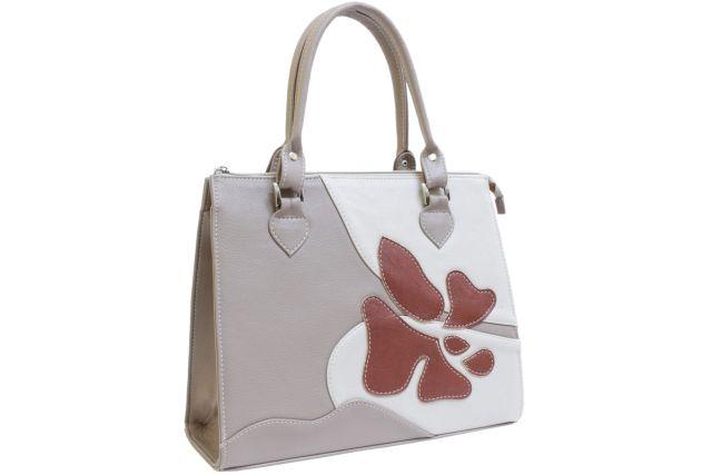 1635 сумка женская бежевая с отделкой