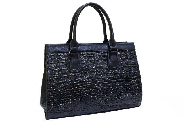 1214 сумка женская черный лак/черная