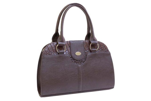 1436 сумка женская коричневая/коричневый крок