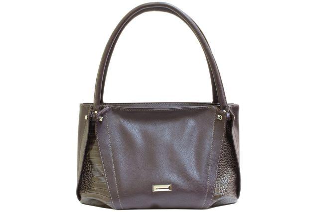 1737 сумка женская коричневая с отделкой