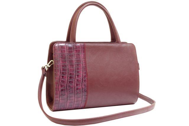 0427 сумка женская бордовая/бордовый крок
