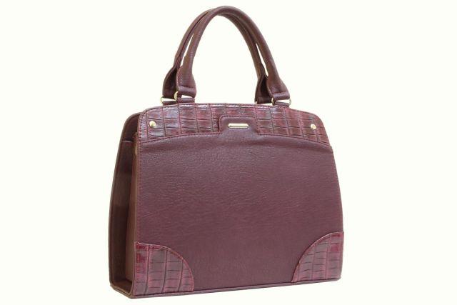 1522 сумка женская бордовая/бордовый крок