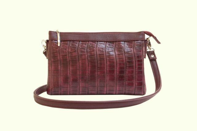 1405 сумка женская бордовый крок/бордовая