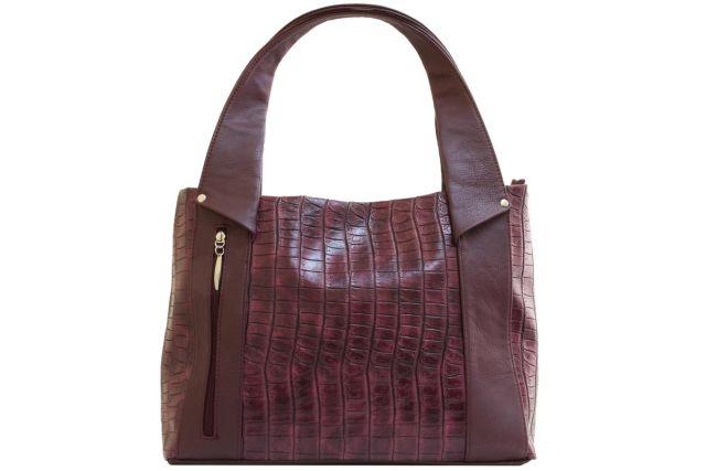 1804 сумка женская бордовый крок/бордовая