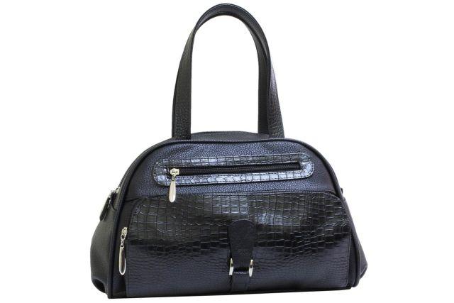 1633 сумка женская черная/черный крок