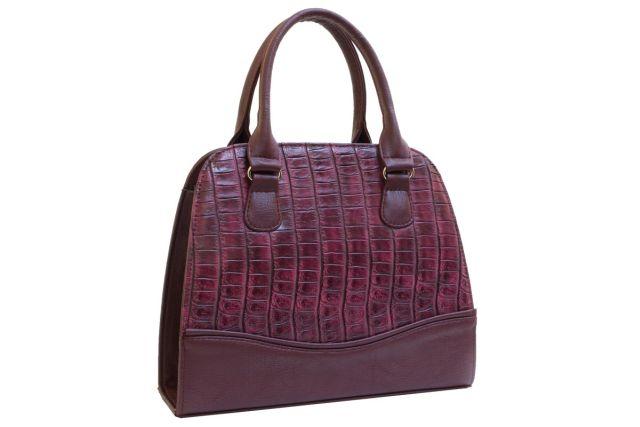 1520 сумка женская бордовый крок/бордовая