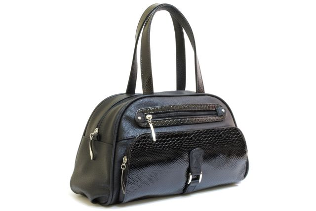 1633 сумка женская черная/черный лак