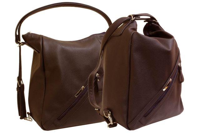 1823 сумка-рюкзак женская коричневая