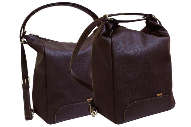 1832 сумка-рюкзак женская коричневая