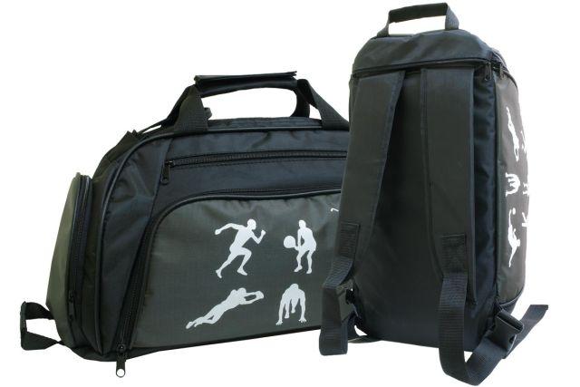 1831к сумка-рюкзак спортивная черная/хаки