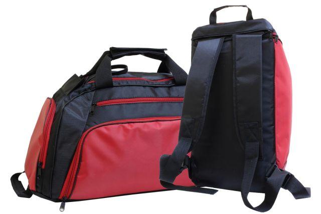 1831к сумка-рюкзак спортивная черная/красная