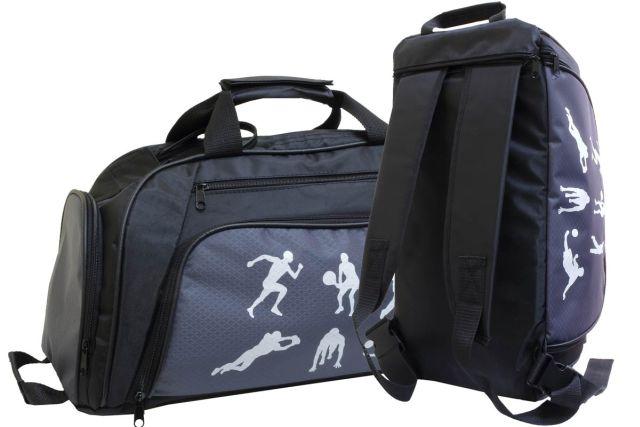 1831к сумка-рюкзак спортивная черная/серая