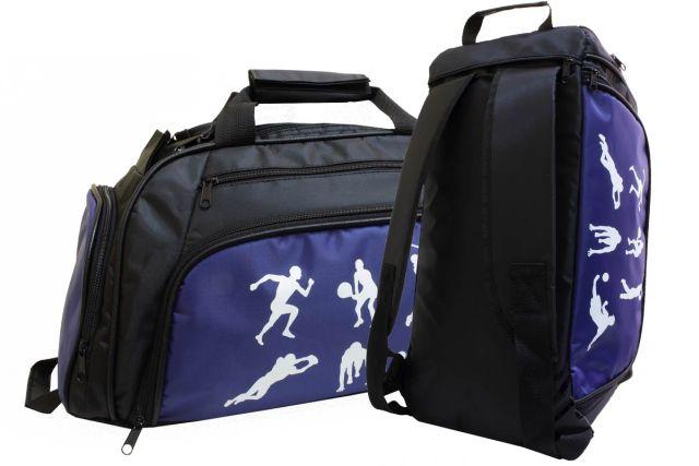 1831к сумка-рюкзак спортивная черная/синяя