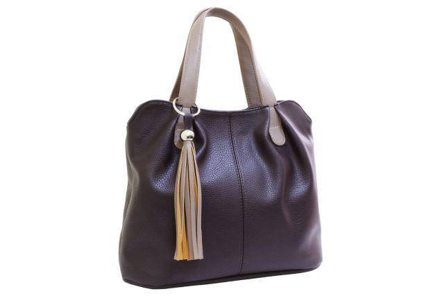 1943 сумка женская коричневая с отделкой